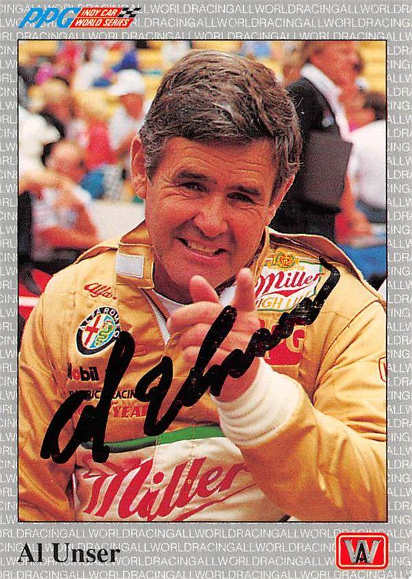 Autograph Warehouse 624705 Al Unser Sr. Autographed Trading Card - Auto Racing, NASCAR, SC 1991 AW Sports PPG Indy Car World Series - No.35
