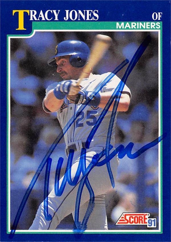 637543 Tracy Jones Autographed Baseball Card - Seattle Mariners 1991 Score - No.87