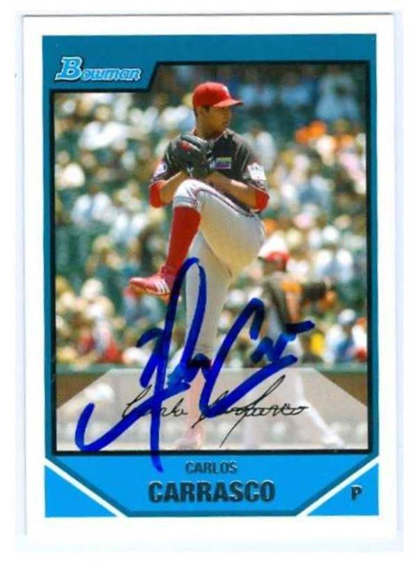 Autograph Warehouse 650876 Carlos Carrasco Autographed Baseball Card - Rookie Phillies now New York Mets 2007 Topps Bowman - No.BDPP68