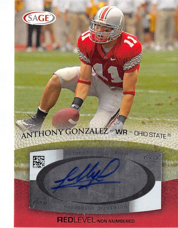 Autograph Warehouse 620482 Anthony Gonzalez Autographed Football Card - Rookie - Ohio State Buckeyes - 2007 Sage No.A20 Certified