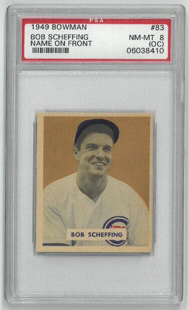 Athlon Sports CTBL-023381 Bob Scheffing Chicago Cubs 1949 Bowman Baseball Trading Card No. 83 - PSA Graded 8 Near Mint-Mint
