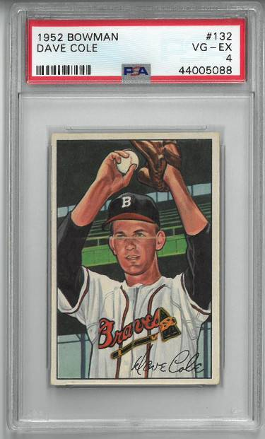 Athlon Sports CTBL-026778 Dave Cole 1952 Bowman Baseball Rookie Card - RC No.132 - PSA Graded 4 Very Good-Excellent - Boston Braves