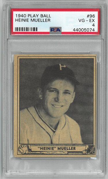 Athlon Sports CTBL-026787 Heinie Mueller 1940 Play Ball Baseball Card No.96 - PSA Graded 4 Very Good-Excellent - Philadelphia Phillies
