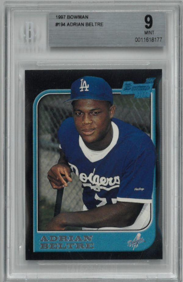 Athlon Sports CTBL-029576 Adrian Beltre 1997 Bowman Baseball Rookie Trading Card Rc No. 194- BGS Becket Graded 9 Mint Los Angeles Dodgers Autograph Baseball Cards