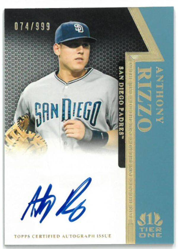 Athlon Sports CTBL-029831 Anthony Rizzo Signed 2011 Topps Certified Rookie Card RC No. OR-AR- 074 & 999 San Diego Padres Autograph Baseball Cards
