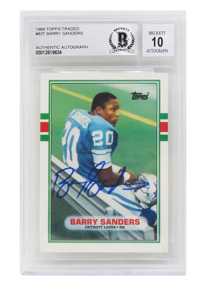 Schwartz Sports Memorabilia SANCAR313 Barry Sanders Signed Detroit Lions 1989 Topps No.3T Rookie Card - Beckett & Auto Grade 10