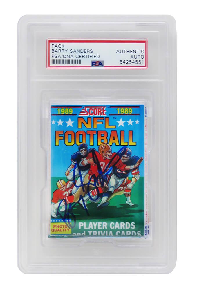 Schwartz Sports Memorabilia SANCAR314 Barry Sanders Signed 1989 Score Un-Opened Pack Football Trading Cards - PSA Encapsulated