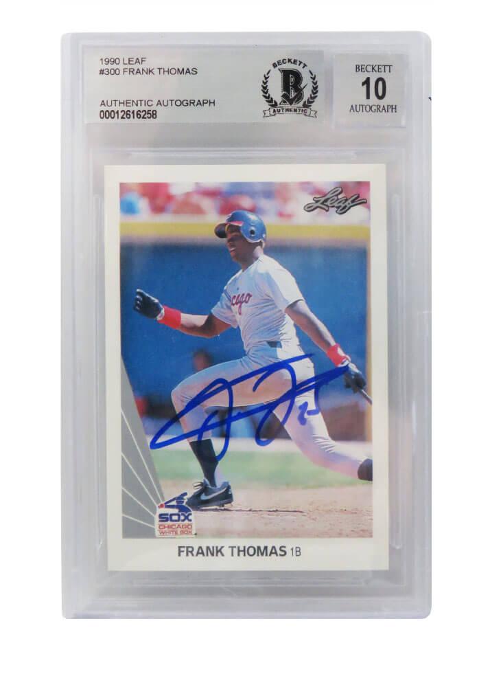 Schwartz Sports Memorabilia THOCAR111 Frank Thomas Signed Sox 1990 Leaf Rookie Beckett & Auto Grade 10 No.300 Card Basketball, White