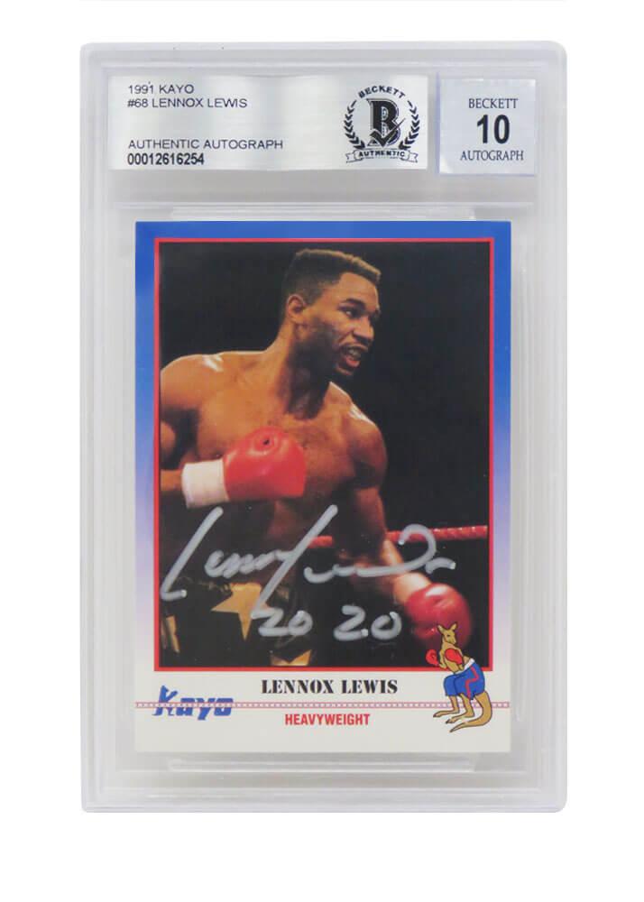 Schwartz Sports Memorabilia LEWCAR501 Lennox Lewis Signed 1991 Kayo Boxing No.068 Trading Card with 2020 - Beckett & Auto Grade 10