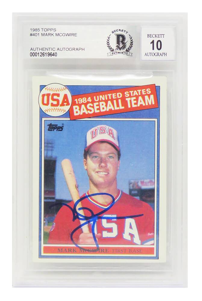 Schwartz Sports Memorabilia MCGCAR112 Mark McGwire Signed Team USA 1985 Topps No.401 Rookie Card - Beckett & Auto Grade 10