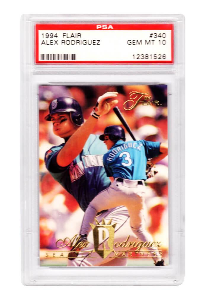 Schwartz Sports Memorabilia PS1AR94F1 Alex Rodriguez Seattle Mariners 1994 Flair Baseball No.340 RC Rookie Card - PSA 10 Gem Mint