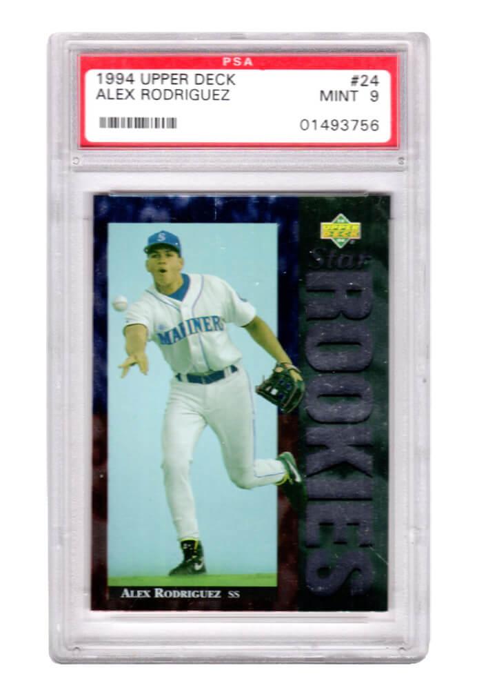 Schwartz Sports Memorabilia PS1AR94U1 Alex Rodriguez Seattle Mariners 1994 Upper Deck Baseball No.24 RC Rookie Card - PSA 9 Mint