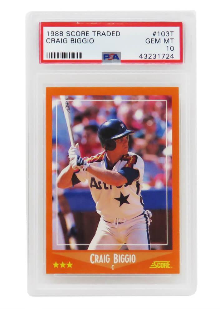 Schwartz Sports Memorabilia PS1CB88S2 Craig Biggio Houston Astros 1988 Score Traded Baseball No.103T RC Rookie Card - PSA 10 Silver