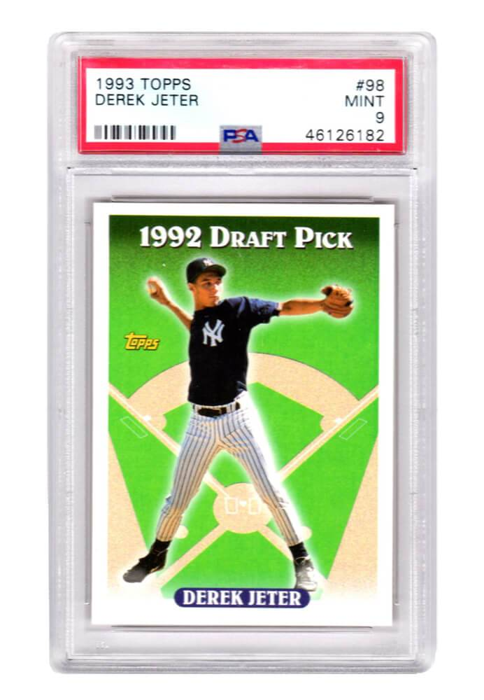 Schwartz Sports Memorabilia PS1DJ93T1 Derek Jeter New York Yankees 1993 Topps Baseball No.98 RC Rookie Card - PSA 9 Mint
