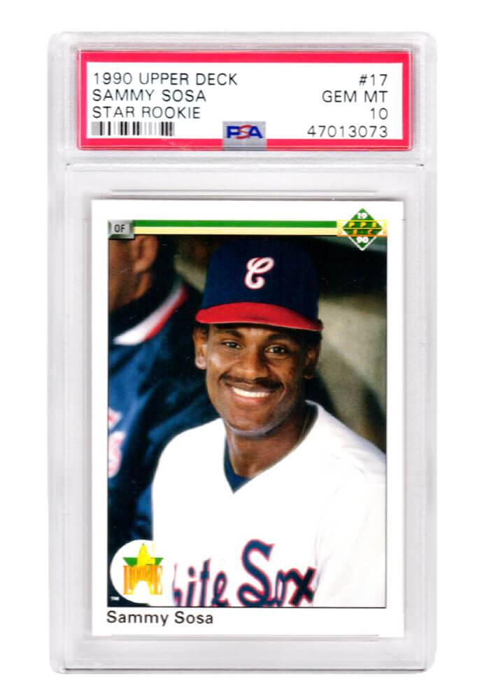Schwartz Sports Memorabilia PS1SS90U2 Sammy Sosa Chicago Sox 1990 Upper Deck Baseball No.17 RC Rookie Card - PSA 10 Gem Mint, White