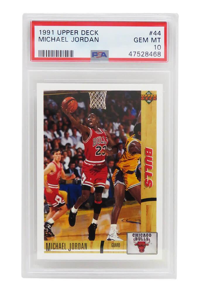 Schwartz Sports Memorabilia PS2MJ91U2 Michael Jordan Chicago Bulls 1991 Upper Deck Basketball No.44 Trade Card - PSA 10 Gem Mint