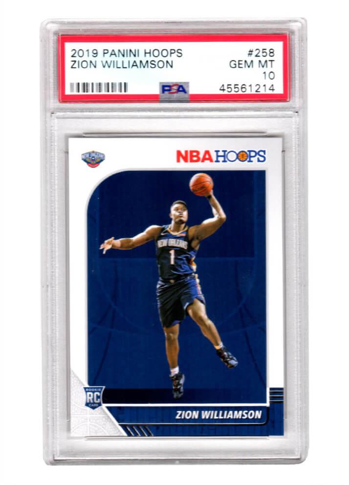 Schwartz Sports Memorabilia PS2ZW19H1 Zion Williamson New Orleans Pelicans 2019 Panini Hoops Basketball No.258 RC Rookie Card - PSA 10 Gem Mint