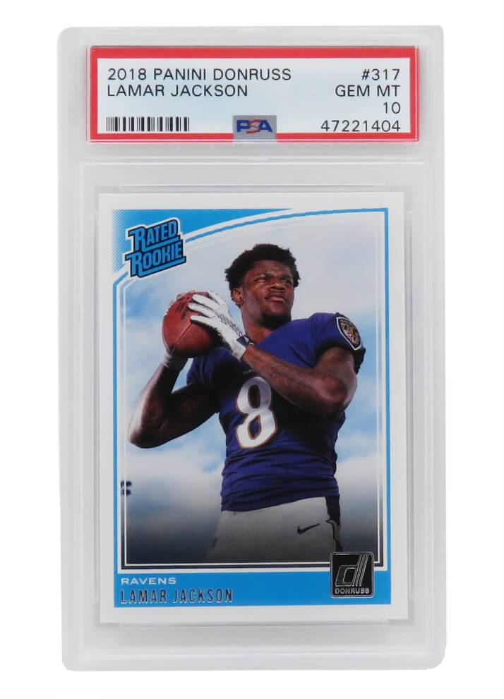 Schwartz Sports Memorabilia PS3LJ18D1 Lamar Jackson Baltimore Ravens 2018 Panini Donruss Football No.317 RC Rookie Card - PSA 10 Gem Mint