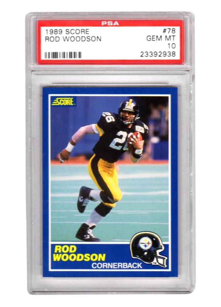 Schwartz Sports Memorabilia PS3RW89S1 Rod Woodson Pittsburgh Steelers 1989 Score Football No.78 RC Rookie Card - PSA 10 Gem Mint
