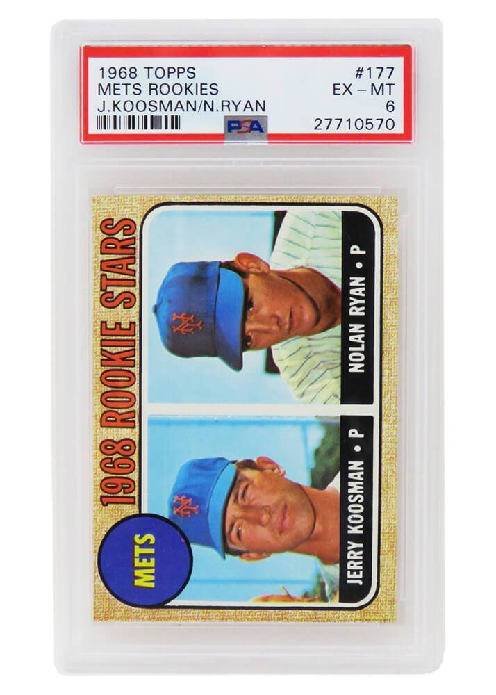 Schwartz Sports Memorabilia PS1NR68TD Nolan Ryan & Jerry Koosman New York Mets 1968 Topps Baseball No.177 RC Rookie Card - PSA 6