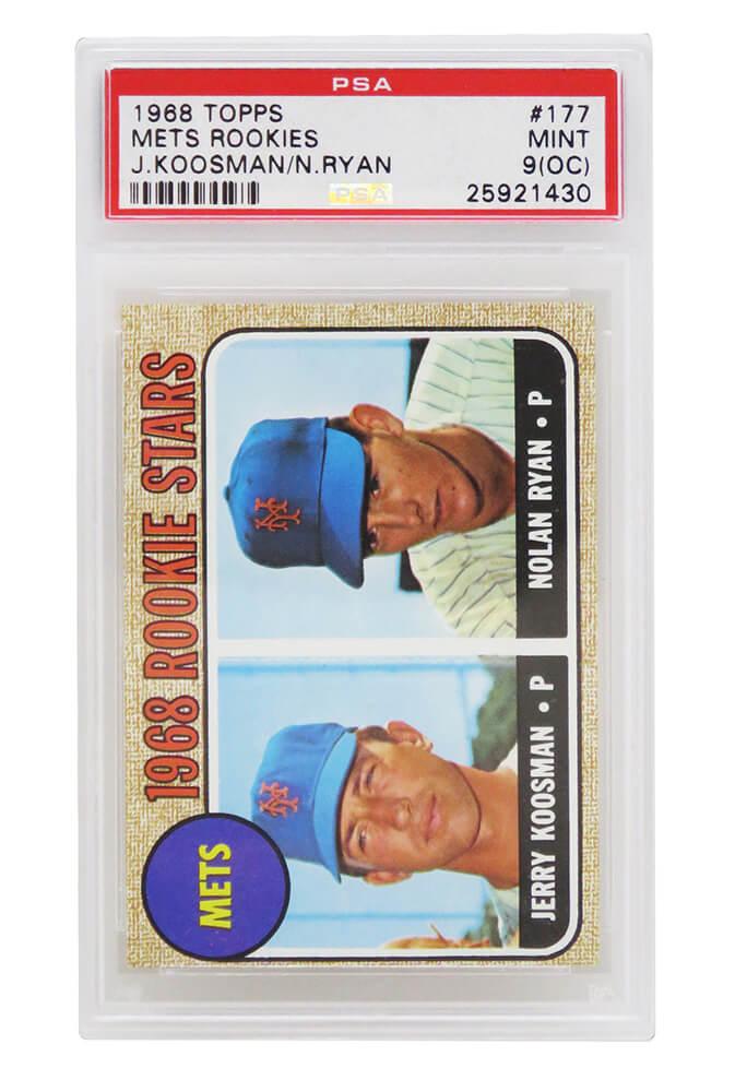 Schwartz Sports Memorabilia PS1NR68TE Nolan Ryan & Jerry Koosman New York Mets 1968 Topps Baseball No.177 RC Rookie Card - PSA 9 OC