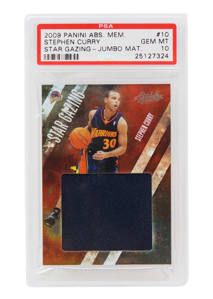 Schwartz Sports Memorabilia PS2SC09P1 Stephen Curry Golden State Warriors 2009 Panini Absolute Memorabilia Jumbo Material No.10 RC No.24-25 Card - PSA 10 Pop 1
