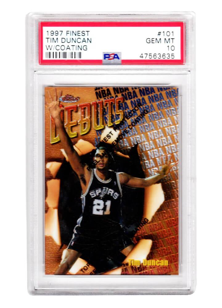 Schwartz Sports Memorabilia PS2TD97F3 Tim Duncan San Antonio Spurs 1997 Topps Finest Basketball No.101 RC Rookie Card - PSA 10 Gem Mint with Coating