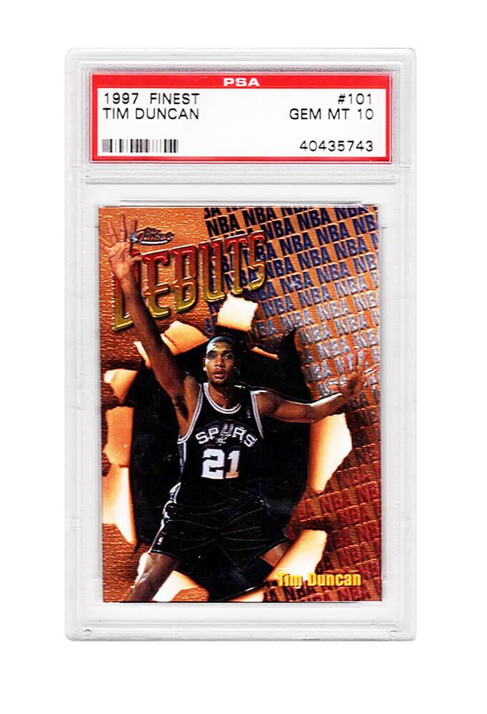 Schwartz Sports Memorabilia PS2TD97F4 Tim Duncan San Antonio Spurs 1997 Topps Finest Basketball No.101 RC Rookie Card - PSA 10 Gem Mint