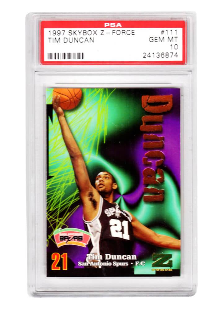 Schwartz Sports Memorabilia PS2TD97S1 Tim Duncan San Antonio Spurs 1997 Skybox Z-Force Basketball No.111 RC Rookie Card - PSA 10 Gem Mint