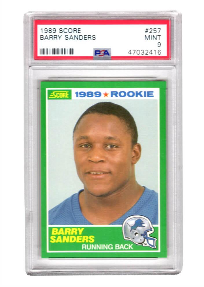 Schwartz Sports Memorabilia PS3BS89S2 Barry Sanders Detroit Lions 1989 Score Football No.257 RC Rookie Card - PSA 9 Mint