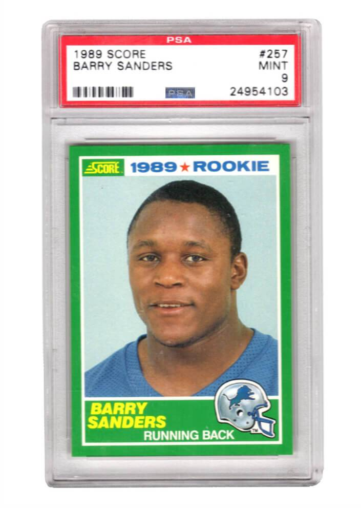 Schwartz Sports Memorabilia PS3BS89S3 Barry Sanders Detroit Lions 1989 Score Football No.257 RC Rookie Card - PSA 9 Mint