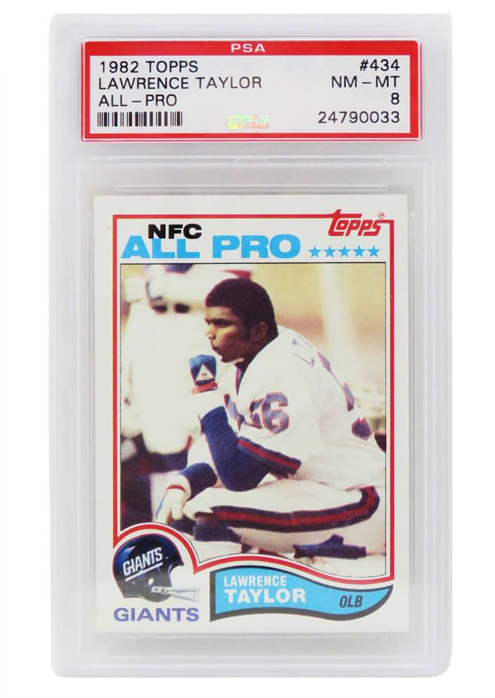 Schwartz Sports Memorabilia PS3LT82A8 Lawrence Taylor New York Giants 1982 Topps Football No.434 RC Rookie Card - PSA 8 NM-MT A