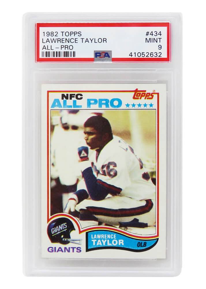 Schwartz Sports Memorabilia PS3LT82A9 Lawrence Taylor New York Giants 1982 Topps Football No.434 RC Rookie Card - PSA 9 Mint A