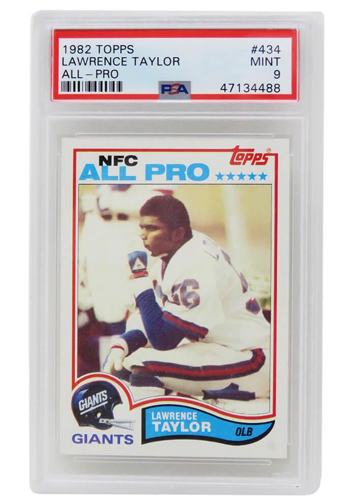 Schwartz Sports Memorabilia PS3LT82C9 Lawrence Taylor New York Giants 1982 Topps Football No.434 RC Rookie Card - PSA 9 Mint C