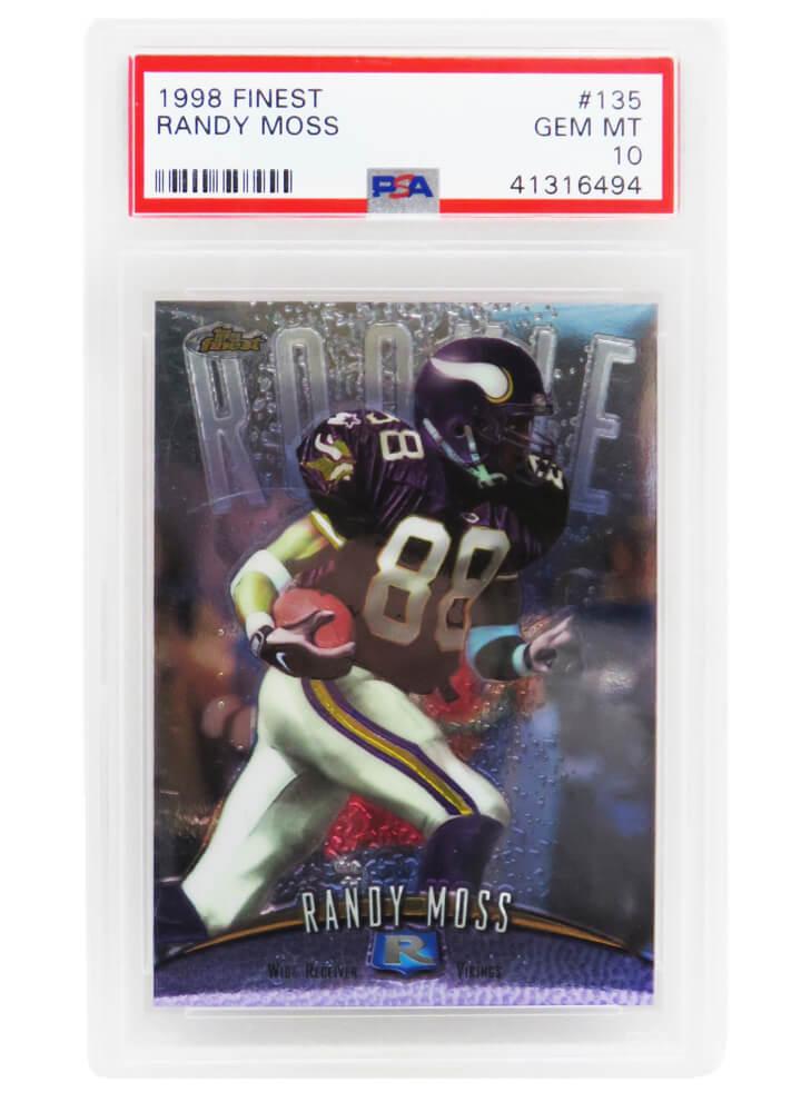 Schwartz Sports Memorabilia PS3RM98F4 Randy Moss Minnesota Vikings 1998 Topps Finest Football No.135 RC Rookie Card - PSA 10 Gem Mint