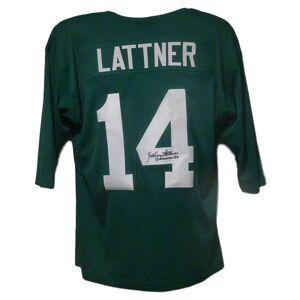 Denver 12086 Notre Dame green with Heisman Johnny Lattner Autographed Jersey