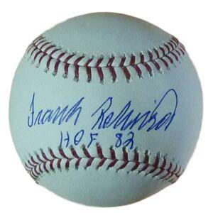 Denver 12946 OML Frank Robinson Autographed Baseball with HOF 82
