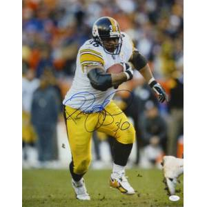 Denver 15255 Jerome Bettis Autographed Pittsburgh Steelers 16 x 20 in. Action photo, White