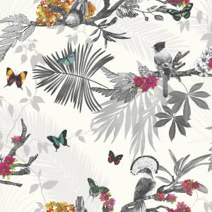 Arthouse 664802 Mystical Forest White Wallpaper, Multi-color