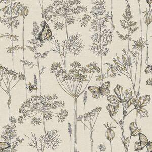 Arthouse 904105 Meadow Floral Non-Woven Wallpaper, Charcoal & Ochre