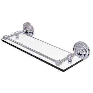 Allied QN-1-16-GAL-PC 16 in. Que New Tempered Glass Shelf with Gallery Rail, Polished Chrome
