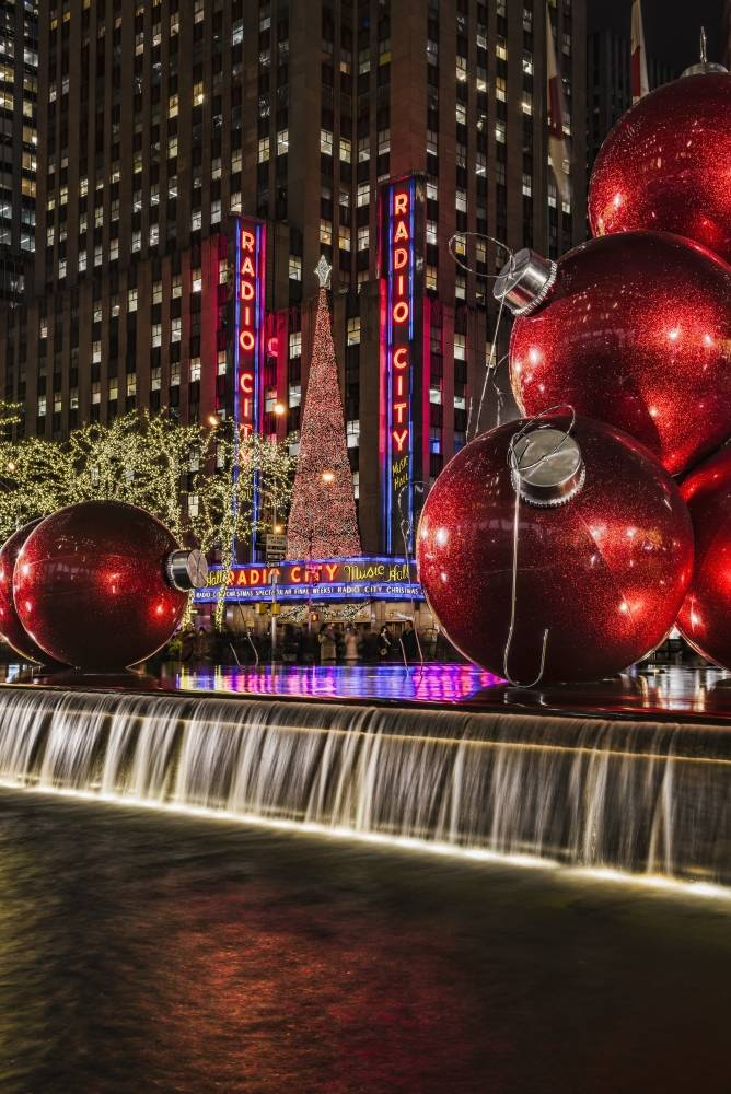 BrainBoosters Christmas Decorations Near Radio City Music Hall - New York New York United States of America Poster Print - 24 x 38 in. - Large