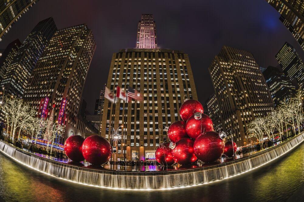 Posterazzi DPI12276443LARGE Christmas Decorations Near Radio City Music Hall - New York City United States of America Print - 38 x 24 in. - Large