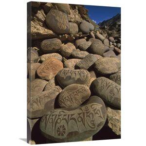 JensenDistributionServices 20 x 30 in. Carved Buddhist Mani Stones, Zangla, Kingdom of Zanskar,India Art Print - Colin Monteath