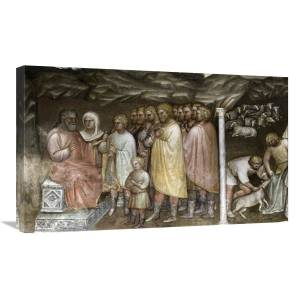 JensenDistributionServices 30 in. Joseph Tells the Story to His Relatives From Tambour - Stories of Jacob Art Print - Giusto De Menabuoi