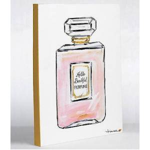 One Bella Casa 73055WD11 11 x 14 in. Hello Beautiful Perfume Canvas Wall Decor by Timree - White, Pink & Gold