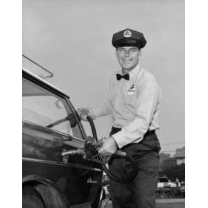 Posterazzi SAL2556641 Mid Adult Man Refueling a Car at a Gas Station Poster Print - 18 x 24 in.