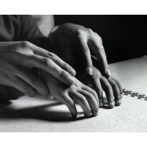 Posterazzi Superstock SAL2553768 Close-Up of An Adult Helping A Blind Child Read Braille Script Poster Print, 18 x 24