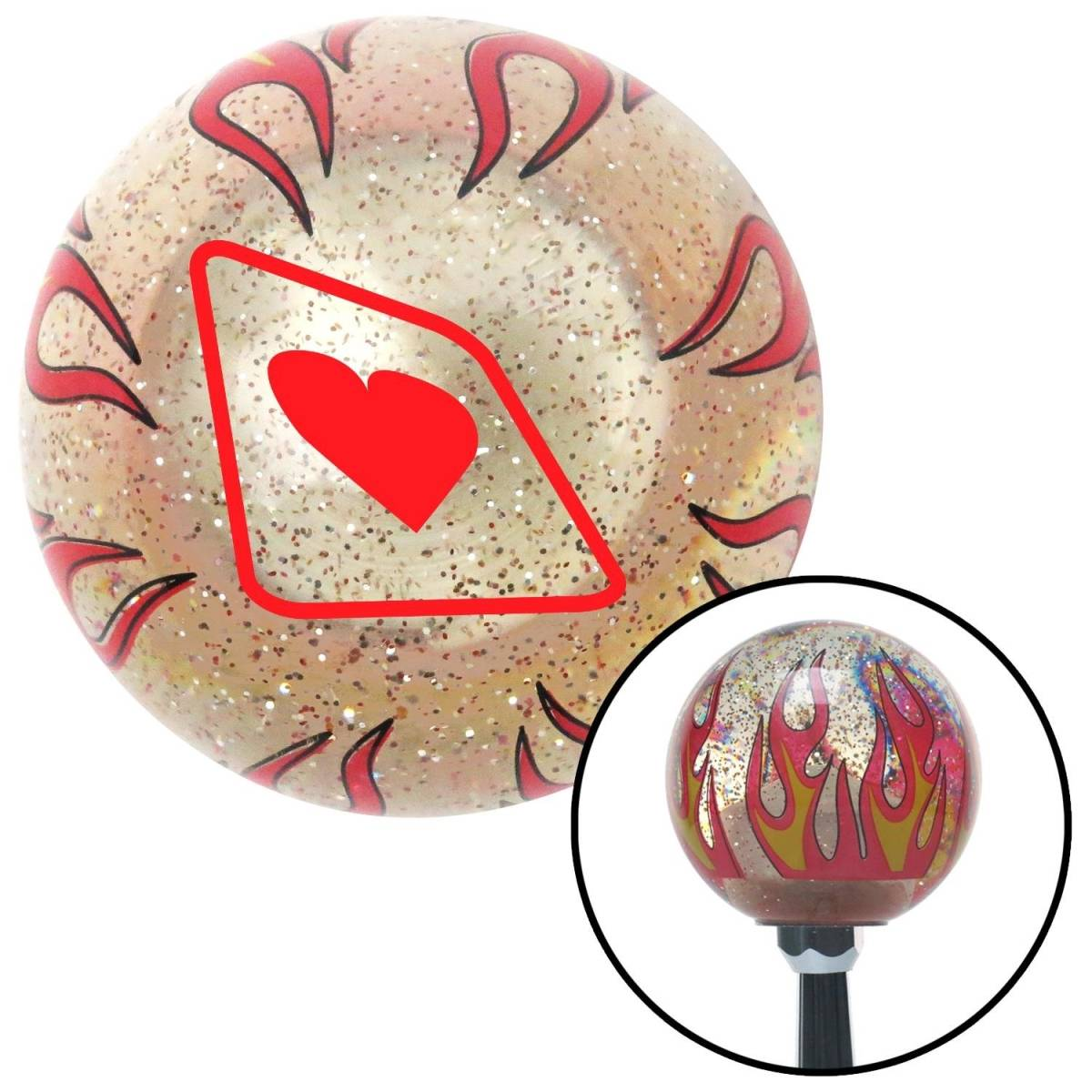 American Shifter Company American Shifter 228309 Red Heart on a Card Clear Flame Metal Flake Shift Knob with M16 x 1.5 Insert Auto Brody