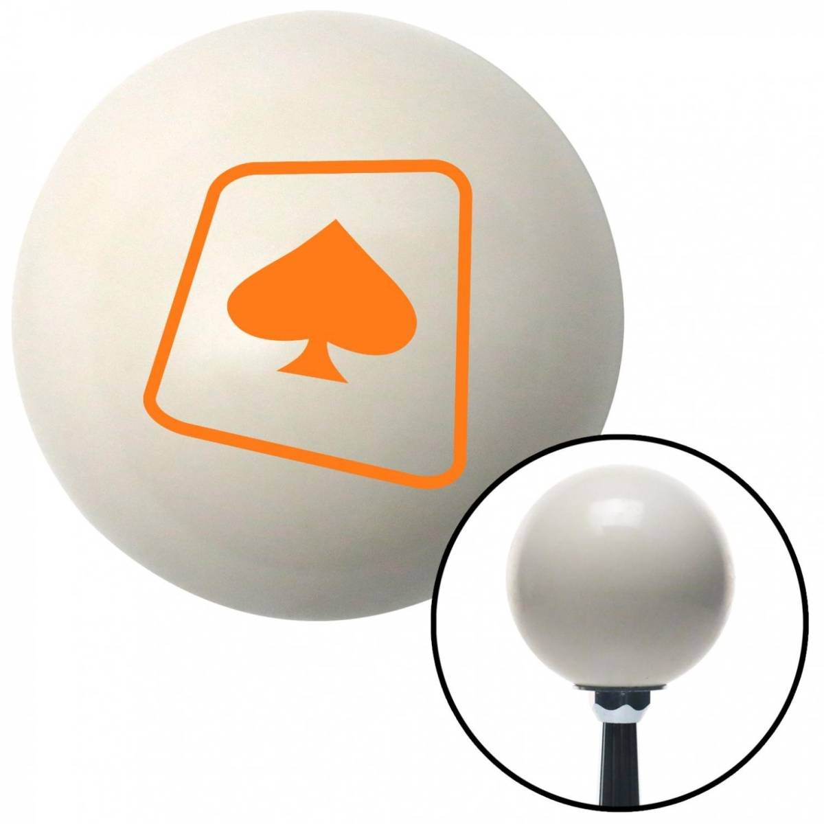 American Shifter Company American Shifter 30677 Orange Spade on a Card Ivory Shift Knob with M16 x 1.5 Insert Shifter Auto Manual Brody
